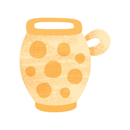 Illustration of large orange pot with ornament. Vessel for liquids with one handle. Vintage pottery. Earthenware theme. Icon with texture. Colorful flat vector design isolated on white background.