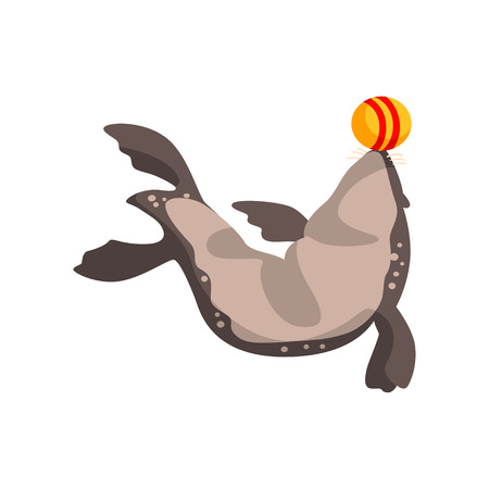 Fur seal playing with ball, sea animal performing in public in dolphinarium vector Illustration on a white background Illustration