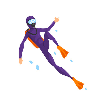 Man in diving suit and fins swimming underwater with scuba vector Illustration isolated on a white background.