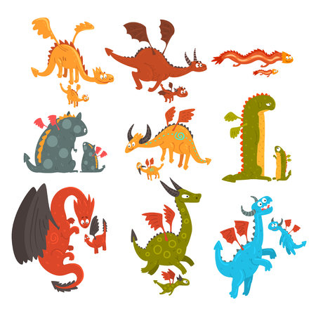 Mature dragons and small baby dragons set, loving mothers and their kids, families of mythical animals cartoon characters vector Illustration isolated on a white background.