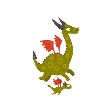 Cute horned mature dragon with wings and baby dragon, mother and her child, family of mythical animals cartoon characters vector Illustration isolated on a white background. Stockfoto - 128162386