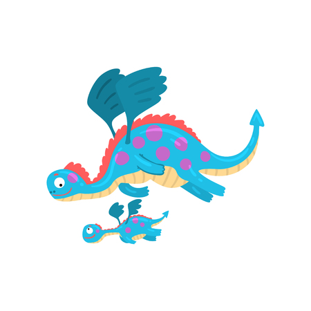Cute loving mother dragon and her baby, family of mythical animals cartoon characters vector Illustration isolated on a white background.