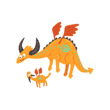 Cute horned mature dragon with wings and small baby dragon, mother and her child, family of mythical animals cartoon characters vector Illustration isolated on a white background.