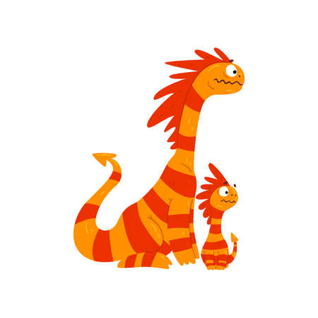 Loving mother dragon and her baby, cute striped winged dragons, fantasy mythical animals cartoon characters vector Illustration isolated on a white background.