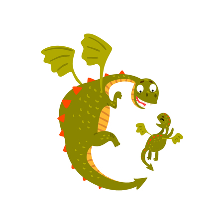 Cute mature dragon and small baby dragon flying, mother and her child, family of green mythical animals cartoon characters vector Illustration isolated on a white background.
