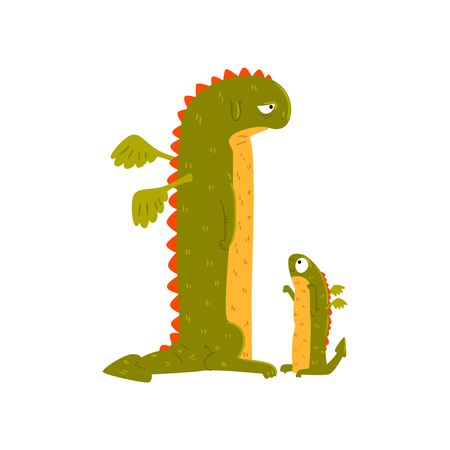 Green mature dragon and small baby dragon, mother and her child, cute family of mythical animals cartoon characters vector Illustration isolated on a white background.