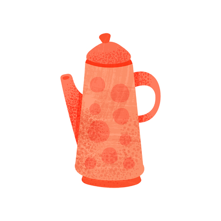 Icon of bright red teapot with handle, lid and long snout. Kettle for tea. Decorative graphic element for children book. Colorful flat vector illustration with texture isolated on white background.