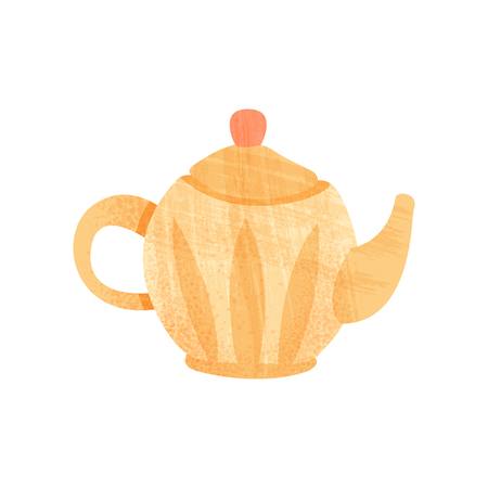 Illustration of small orange teapot with handle, spout and lid. Ceramic kitchenware. Graphic element for children book. Icon with texture. Colorful flat vector design isolated on white background. Illustration
