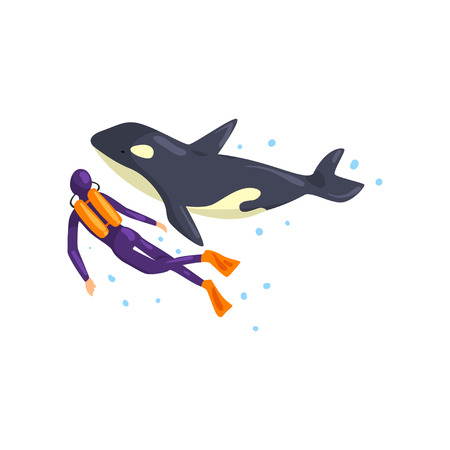Animal trainer and orca performing in public in dolphinarium vector Illustration isolated on a white background