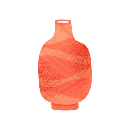 Icono de jarrón rojo brillante con cuello estrecho. Vaso de barro antiguo para líquidos. Tema de loza. Elemento gráfico para cartel promocional del taller de cerámica. Ilustración de vector plano con textura aislado en blanco.