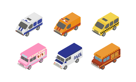 Street food trucks and special service vans, city transport vector Illustration isolated on a white background.