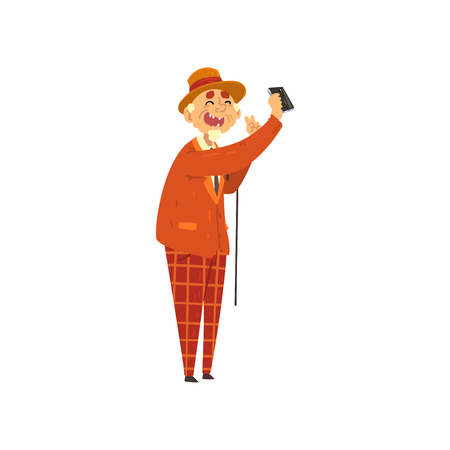Smiling senior man making selfie on smartphone, grandpa leading an active lifestyle, social concept vector Illustration isolated on a white background.