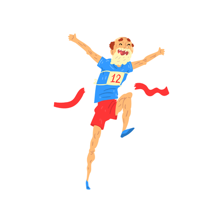 Senior man running, elderly man taking part in marathon, healthy active lifestyle colorful characters vector Illustration isolated on a white background. Illustration