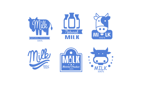Milk natural products  set, 100 percent fresh dairy natural food label, emblem design vector Illustration on a white background