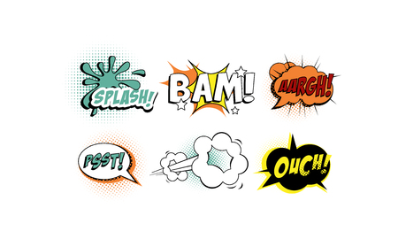 Bright comic speech bubbles set, text sound effects vector Illustration isolated on a white background.