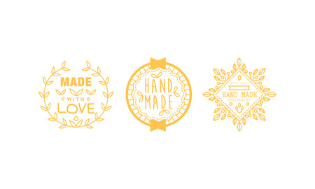 Made with love  set, golden badges, labels, tags for hand made products vector Illustration on a white background
