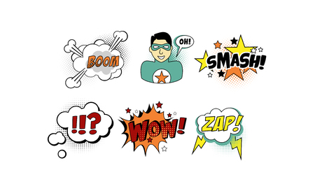 Bright comic templates set, speech bubbles, text sound effects vector Illustration isolated on a white background.