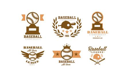 Baseball  set, retro emblem for baseball championship, sports team identity badge vector Illustration on a white background Illustration