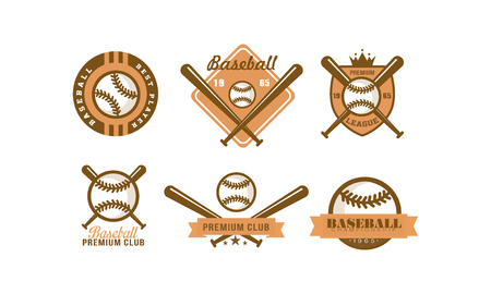 Baseball   set, retro emblem for baseball club, premium league label, best player badge vector Illustration on a white background