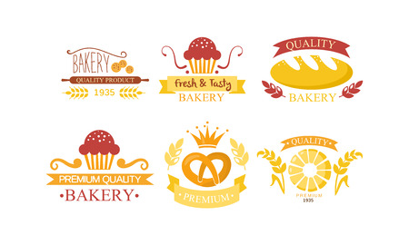 Bakery set, bakehouse retro emblem design, fresh quality bakery products and pastries vector Illustration on a white background
