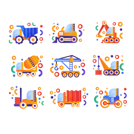Special transport set, heavy industrial and construction machinery vector Illustration isolated on a white background. Illustration