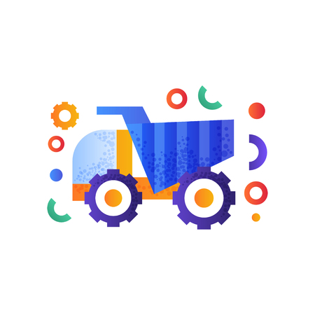 Dump truck, heavy industrial machinery vector Illustration isolated on a white background.