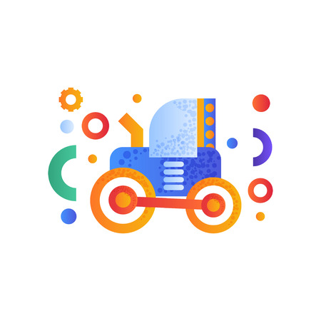 Tractor, heavy agricultural industrial machinery vector Illustration isolated on a white background.