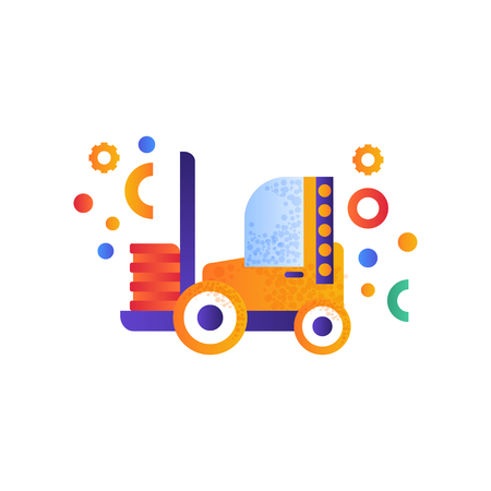 Forklift truck, warehouse industrial machinery flat vector Illustration isolated on a white background.
