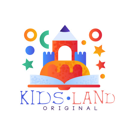 Kids land original, creative label template, playground, entertainment or educational club badge vector Illustration on a white background