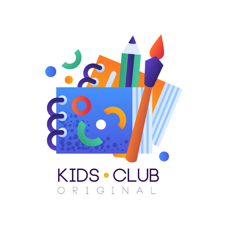 Kids club   original, creative label template, science education curricular club badge vector Illustration on a white background