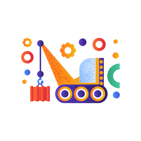 Hydraulic crawler crane, cargo transportation industrial machinery vector Illustration isolated on a white background.