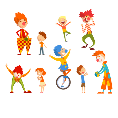 Clowns and happy little kids set, children having fun at birthday, carnival party or circus performance vector Illustration isolated on a white background.