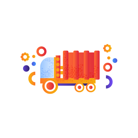Dump truck or garbage truck, heavy industrial machinery vector Illustration isolated on a white background.