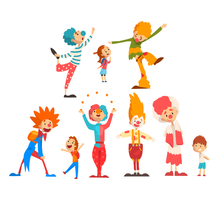 Cute funny clowns and happy kids set, boys and girls having fun at birthday, carnival party or circus performance vector Illustration isolated on a white background.