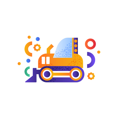 Bulldozer, heavy industrial machinery vector Illustration isolated on a white background.