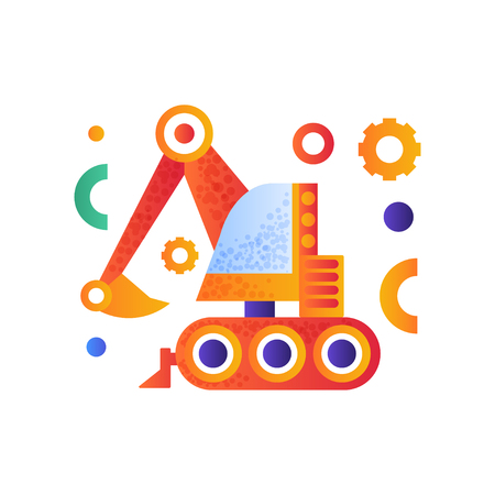 Excavator, heavy industrial construction machinery vector Illustration isolated on a white background.