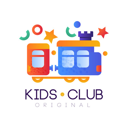 Kids club original, colorful creative label template, playground or entertainment club badge with toy train vector Illustration on a white background