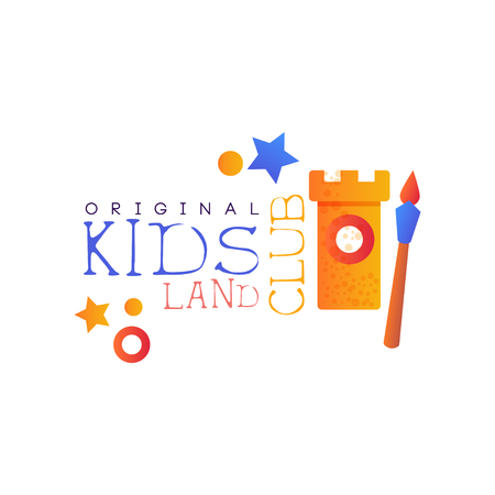 Kids land club  original, colorful creative label template, playground, entertainment or educational club badge vector Illustration on a white background 向量圖像