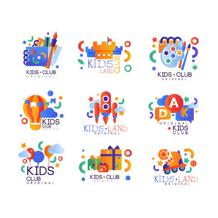 Kids club  original set, creative labels templates, playground, entertainment, science education curricular club badges vector Illustration on a white background Ilustrace