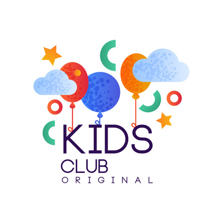 Kids club  original, creative label template, playground, entertainment or educational club badge with colorful balloons vector Illustration isolated on a white background. Ilustrace