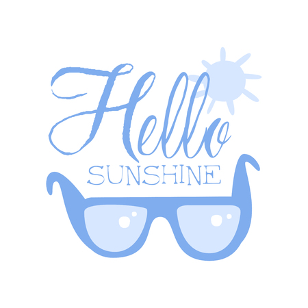 Hello Sunshine, positive quote, hand wriiten lettering motivational slogan vector Illustration isolated on a white background.