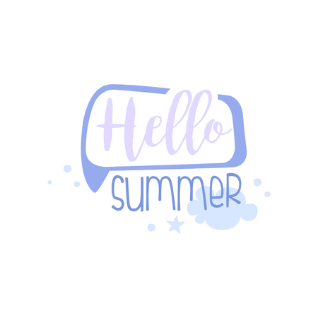 Hello, Summer, positive quote, hand wriiten lettering motivational slogan vector Illustration isolated on a white background.