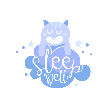 Sleep Well, positive quote, hand wriiten lettering motivational slogan vector Illustration isolated on a white background. Illustration