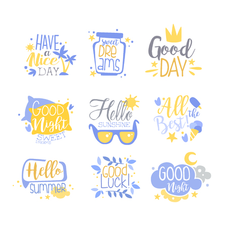 Positive quotes set, hand wriiten lettering inspirational motivational slogans vector Illustration isolated on a white background. Illustration
