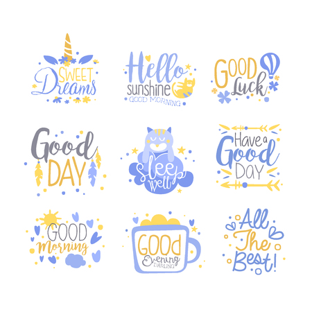 Positive quotes set, hand wriiten lettering motivational slogans vector Illustration isolated on a white background.
