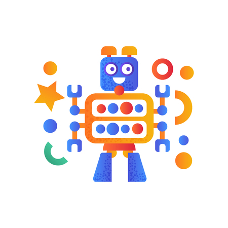 Cute robot character, artificial robotics machine colorful vector Illustration on a white background Illustration