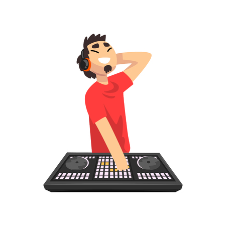 Male DJ mixing music on vinyl turntables, young man playing music on mixer console deck vector Illustration isolated on a white background. Ilustração