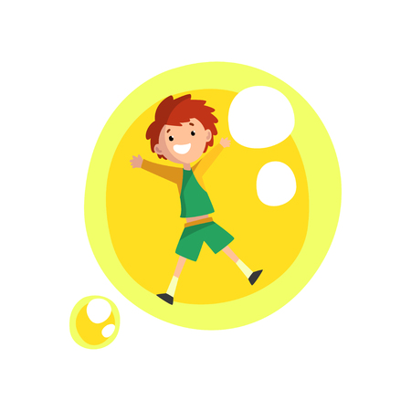 Cute smiling boy having fun inside a giant yellow soap bubble cartoon vector Illustration on a white background