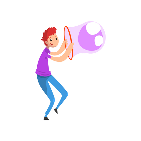 Young smiling man blowing big soap bubble with ring cartoon vector Illustration isolated on a white background. Illustration