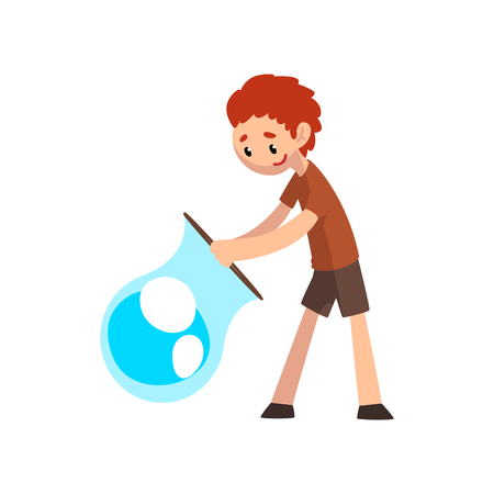 Smiling boy blowing big soap bubble with ring cartoon vector Illustration isolated on a white background.
